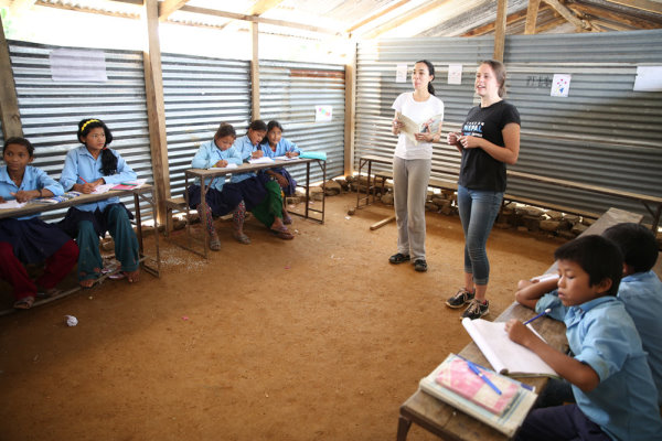 Teaching in the temporary Village School